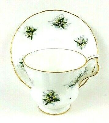 Royal Windsor Fine Bone China Lily of the Valley England Footed Cup & Saucer Set