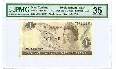 (1968-75) NEW ZEALAND ONE DOLLAR REPLACEMENT NOTE P# 163b* PMG 35  SCARCE!!