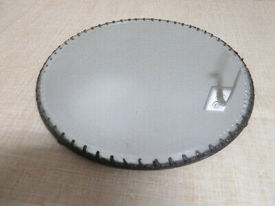 Vintage Round Beveled Glass Pewter Scroll Plated Dresser Mirror Vanity Tray 12""