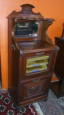 Antique Edwardian mahogany MUSIC CABINET & mirror 128 x 50cm carved