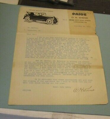 1920 Paige Automobile Advertising Letterhead The Most Beautiful Car in America