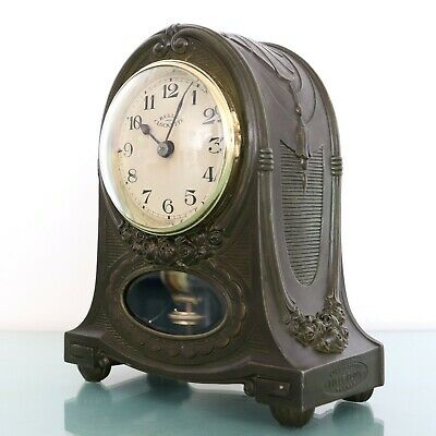 MANTEL CLOCK BULLE Solid TIN! 4.4kg EXTREMELY RARE! Electric Antique French 1930