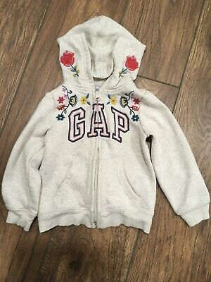 Baby Gap Toddler Girls Ivory Embroidered Floral Zippered Hoodie 3 Years EUC