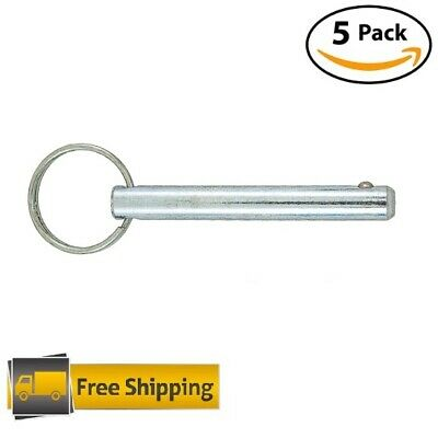 "5 PACK Detent Pin 3/8"" x 3"" L Zinc Plated Steel FREE MAIL quick release ring pin"