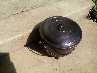 Antique  French  cast iron cauldron/cooking pot tripod feet  complete with lid
