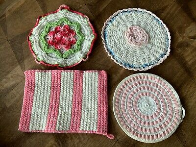 Set 4 Vintage Hand Crocheted POTHOLDERS Pinks