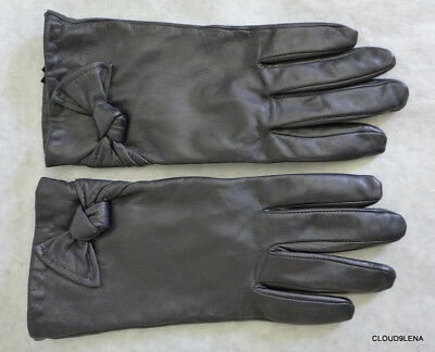 Very soft Leather Knot Detailed Black Gloves Size L