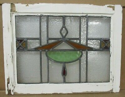 "OLD ENGLISH LEADED STAINED GLASS WINDOW Stunning Geometric With Jewel 20.75""x16"""