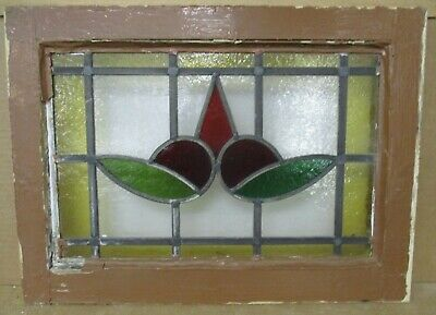 "OLD ENGLISH LEADED STAINED GLASS WINDOW Pretty Leaf & Point Design 20.25"" x 15"""