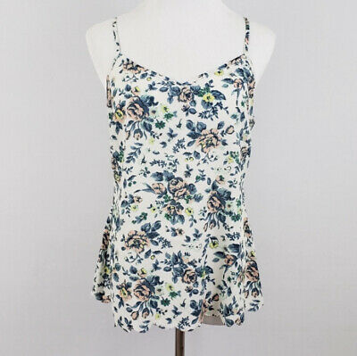 E by Eloise sz M anthropologie blue white floral scallop hem tank top v neckline