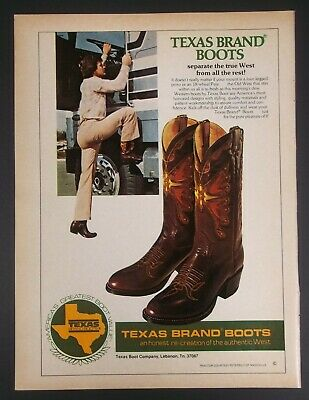 1980 Texas Brand Leather Boots Truck Driver Vintage Magazine Print Ad Poster