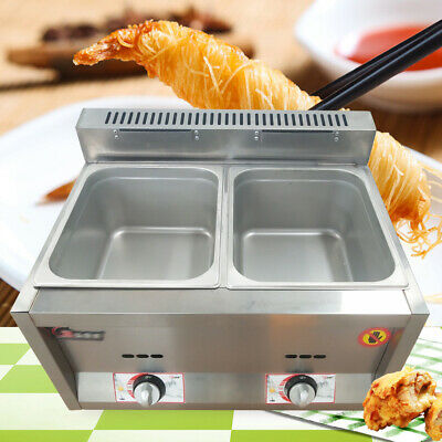 2 pan Gas Catering Food Warmer Steam Table Buffet Gas Fryer 6L*2 Commercial Top