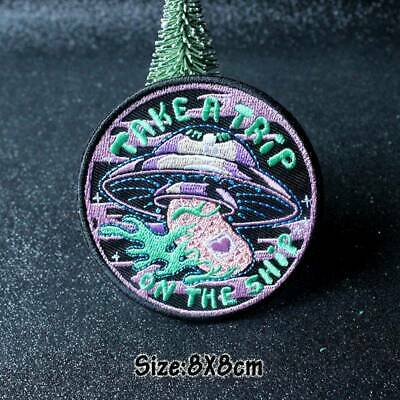 DIY Embroidery Sew On Iron UFO Patch Badge Fabric Craft Applique Clothes Punk