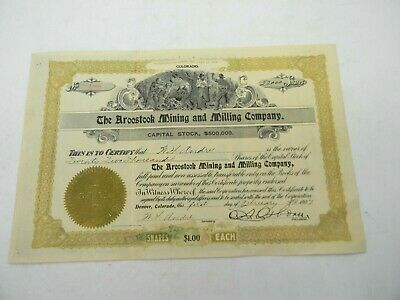 Antique 1907 Aroostook Mining and Milling Co Stock Certificate Colorado Andre