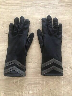 ISO Isotoner Driving Gloves Leather Palm & Finger Patches Black Stretch S/M