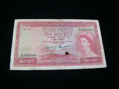 Mauritius 1954 10 Rupees Banknote Pick#28 Well Circulated