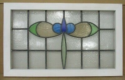 "OLD ENGLISH LEADED STAINED GLASS WINDOW TRANSOM Pretty Blue Flower 30"" x 18.5"""
