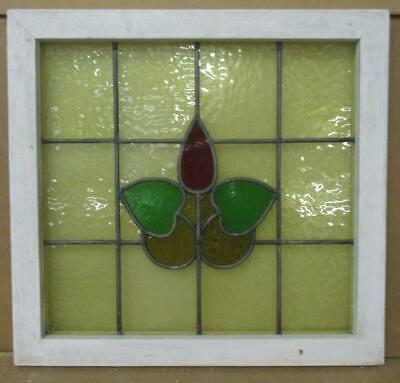 """OLD ENGLISH LEADED STAINED GLASS WINDOW Floral Yellow Background 19.75"""" x 18.75"""""""