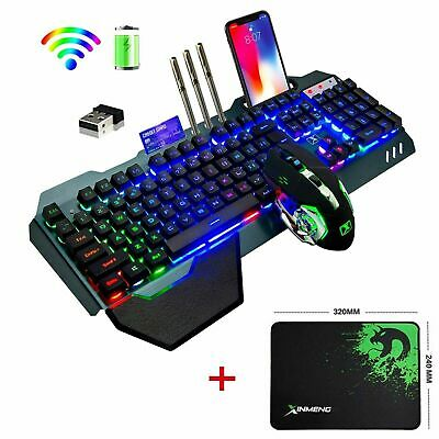 UK Rechargeable RGB Wireless Gaming Keyboard Mouse Mice Pad LED Backlit Keypads