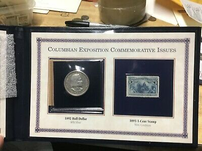 The First U.S. Commemorative Coin and Stamp, 1892 Columbian 1893 Stamp in Folder