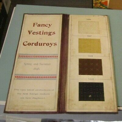 1898 Fancy Vestings and Corduroys Fabric Sample Catalog Clothing Advertising