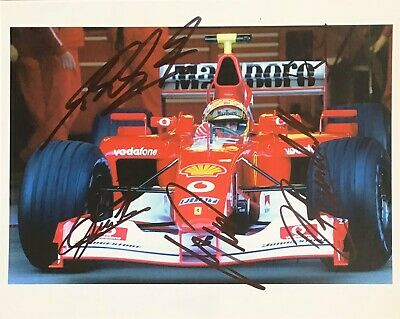 F1 FERRARI MULTI AUTHENTIC SIGNED BY 5 MICHAEL SCHUMACHER 10x8 PHOTO AFTAL#198