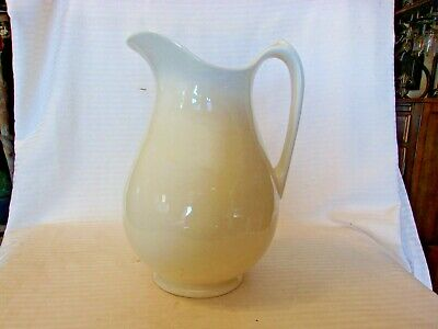 """Cream  Off White Colored Ceramic Water Pitcher With Handle 10.5"""" Tall"""