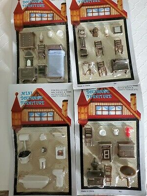 Miniature 1:48 Dollhouse Furniture~Lot of 4 Sets~ Kitchen Bathroom Bedroom
