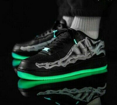 NIKE AIR FORCE 1 07 skeleton black qs size uk 8.5 worn