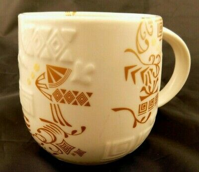 Details about Starbucks Coffee Mug 2012 Cup White Gold String of Lights 12 oz New Bone China