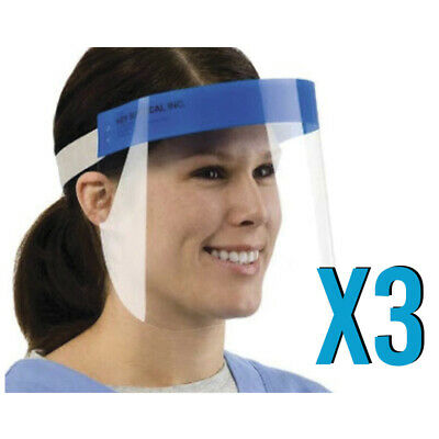 Pack of 3 Safety Full Face Shield Clear Protector Anti-Splash Work Industry