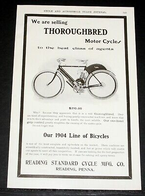 1904 Old Magazine Print Ad, Reading Standard, Throughbred Motorcycle, Bicycles!
