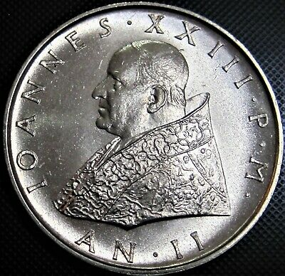 **ONLY 30,000 MINT-RARE** 1960 Vatican City 500 Lire Silver Coin, KM#65.2