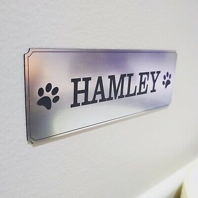 Pet Name Plaque Personalised Adhesive House Kennel Dog Cat Sign Wall Plaque
