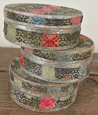 3 Antique Chinese Export Embroidered Silk Circular Carry Cases Export Boxes #1