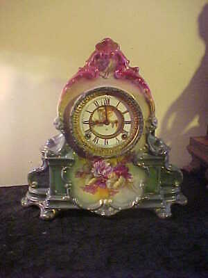 Antique Ansonia Royal Bonn LeManche Open Escapement Clock -Runs Great