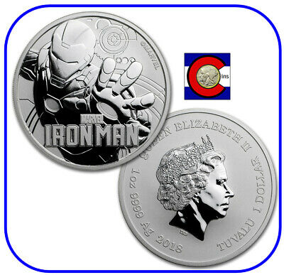 2018 Marvel Tuvalu Iron Man 1 oz Silver Coin in Mint Capsule