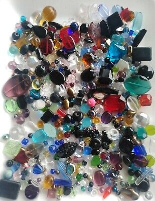 Fun Destash SALE Chinese Faceted Glass Beads Mixed Project Color Shape Size #4