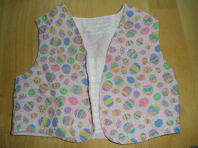 Vintage Toddler Baby EASTER EGG Lace VEST COTTON Homemade Reversible Bright NICE