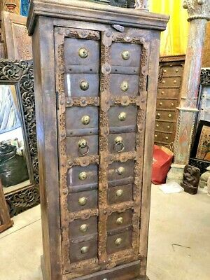 Antique Armoire, Rustic Cabinet, PRIMITIVE DOORS STORAGE, Eclectic Earthing