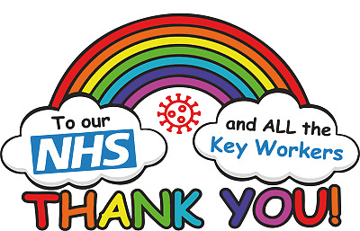 Nhs And Key Workers Thank You Rainbow Glass Stickers Free Post Window