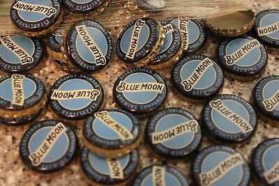 100 Blue Moon Ribbon Beer Bottle Caps No Dents Free Fast Shipping!
