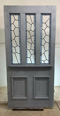 Wide Victorian Edwardian Front Door Reclaimed Timber Old Stained Glass Leaded