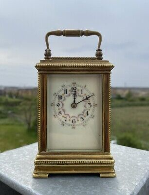 19th Century French Handl Mantle Carriage Clock Gilded Bronze Top Condition