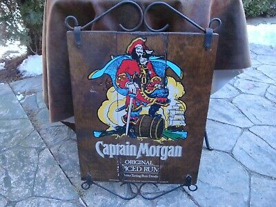 Vintage Captain Morgan Original Spiced Rum Wood Tavern Sign with Iron Accents