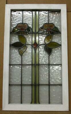 "LARGE OLD ENGLISH LEADED STAINED GLASS WINDOW Lovely Flower/Leaves 18.5"" x 32.5"""