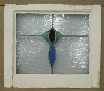 "OLD ENGLISH LEADED STAINED GLASS WINDOW Simple Flower 21"" w x 18.25"" h"