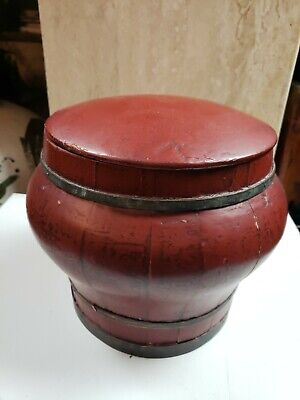 A Chinese Antique Red Color Simple Wooden Rice Container Jar Storage 9 '' High