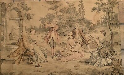 "European Tapestry Gobelin Vintage -Antique Concert Country  Party Scene 53"" X38"""