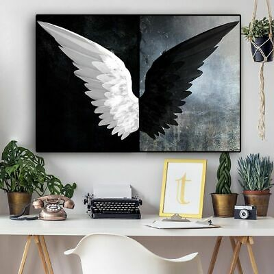 Black and White Feather Wings Canvas Wall Art Angel and Demon Posters Decoration